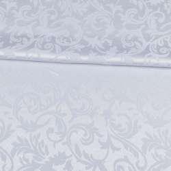 Жаккард скатерковий листя і завитки білий, ш.320