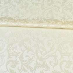 Жаккард скатерковий листя і завитки кремовий, ш.320