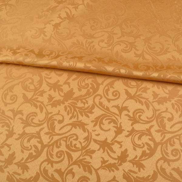 Жаккард скатерковий листя і завитки золотисто-жовтий, ш.320