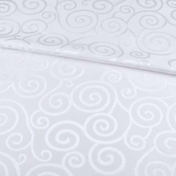 Жаккард скатерковий спіральні завитки білий, ш.320