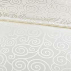 Жаккард скатерковий спіральні завитки молочний, ш.320