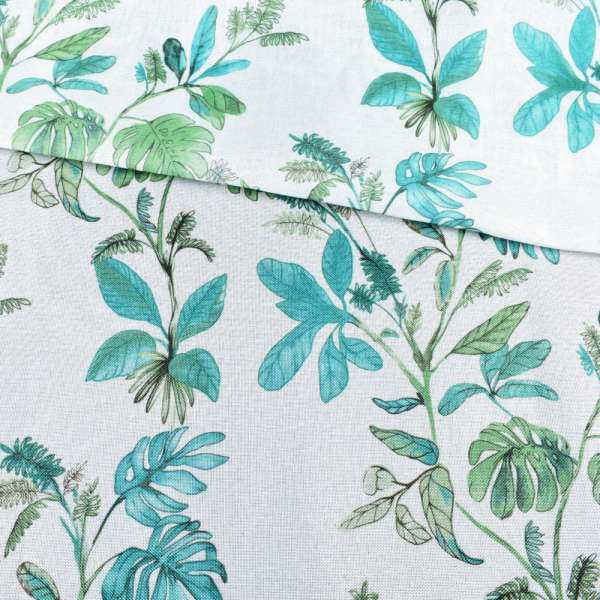 Рогожка белая в зеленые и бирюзовые листья, ш.280