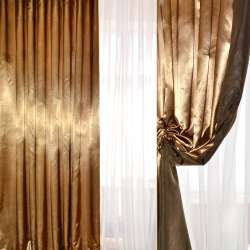 Атлас портьерный хамелеон золотисто-черный ш.280