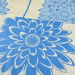 бязь набив. желтая в светло-синие цветы ш.220