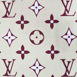 бязь набив. песочная с бордовыми цветами и логотипом LV ш.220