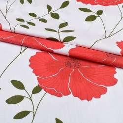 бязь набив. белая с большими красными цветами, ш.220