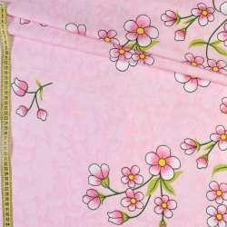Бязь набивна рожева в квіти, ш.220