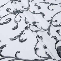 Бязь набивна біла в сірі завитки ш.220