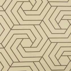 Бязь набивна бежева, коричневі шестикутники, ш.220