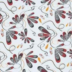 Бязь набивна біла, чорно-червоні птиці, пір'ячко, ш.220