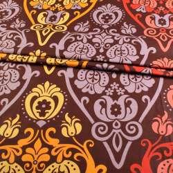 Бязь набивная коричневая с оранжево-желтым рисунком ш.220