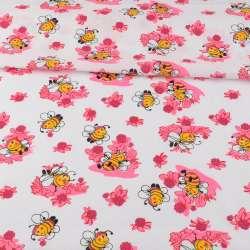 Ситец белый детский, пчелки на розовых цветах, ш.95