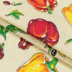 Ткань полотенечная вафельная набивная кремовая с овощами, ш.40