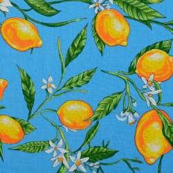 Тканина рушникова вафельна набивна блакитна, жовті лимони ш.40