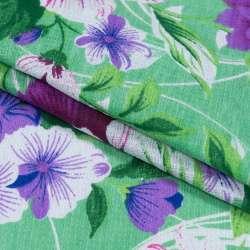 Тканина рушникова вафельна набивна зелена, фіолетові квіти, ш.40