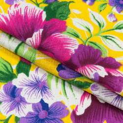 Тканина рушникова вафельна набивна жовта, фіолетові квіти, ш.40