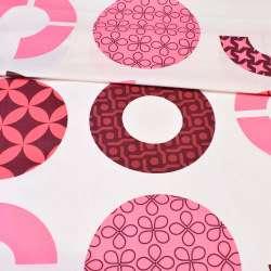 Бязь набивна молочна з рожевими, бордовими колами з орнаментом ш.220