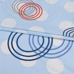 Бязь набив. голубая в белые, красные, серые круги, ш.220