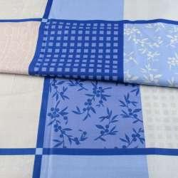 Бязь набивна сіро-блакитні квадрати з ягодами і смужками, ш.220
