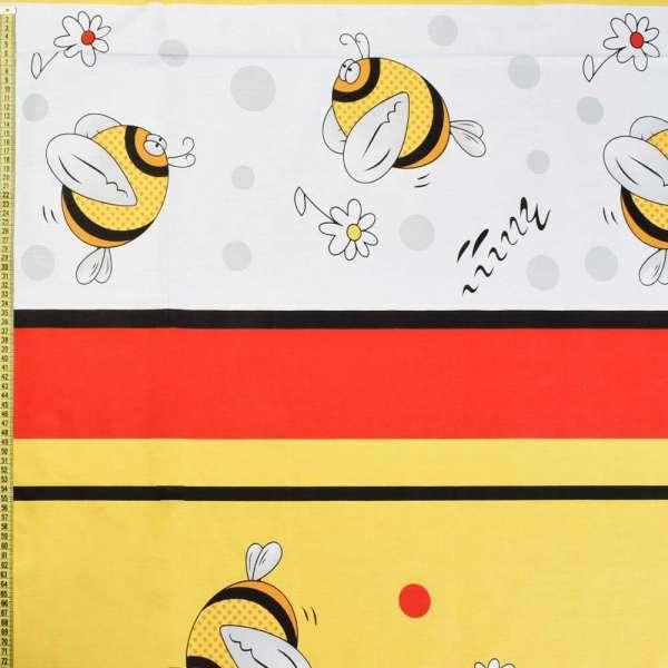 Бязь набив. желто-красно-черные полосы с пчелками, ш.220