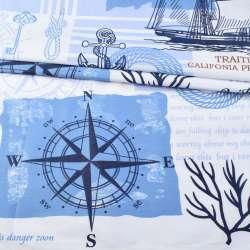 Бязь набивши. біло-блакитна з компасом і синіми зірками, ш.220