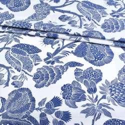 Бязь набивши. біла з великими синіми кольорами, ш.220