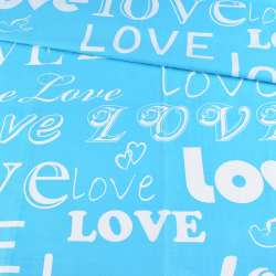 Бязь набивная бирюзовая LOVE, ш.220