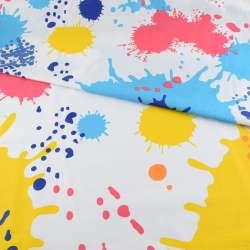 Бязь набивна біла в жовто-сині + блакитні плями і кружечки, ш.220