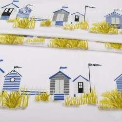 Бязь набивная белая, полосатые домики, ш.220