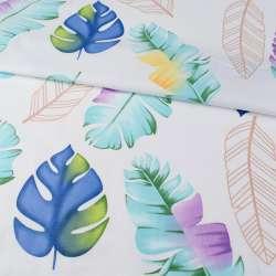 Бязь набивная белая, синие листья, зеленые перья, ш.220