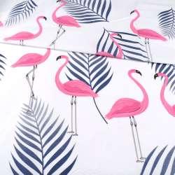 Бязь набивная белая, розовые фламинго, синие ветки, ш.220