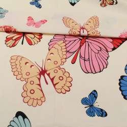 Бязь набивная кремовая, разноцветные бабочки, ш.220
