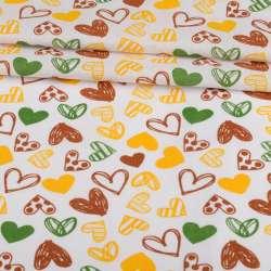 Ситец набивной белый, коричневые, желтые сердечки, ш.95
