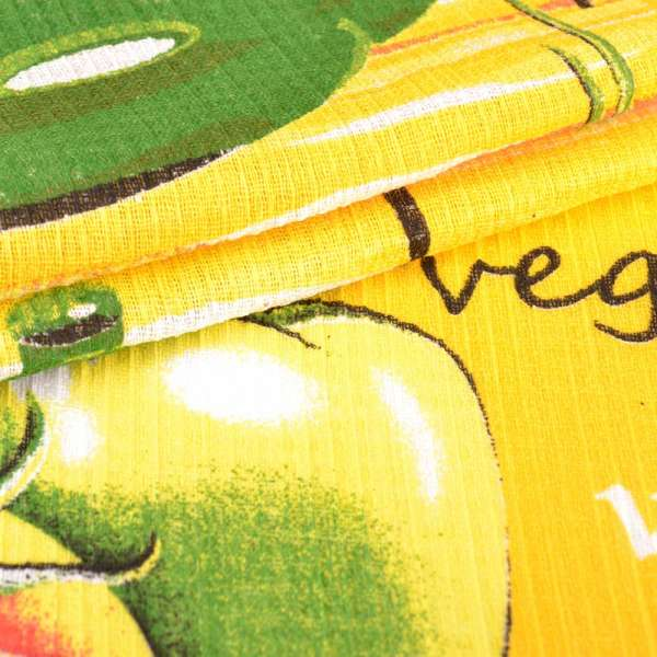 ткань полот. вафельная набив. желтая овощи, ш.40