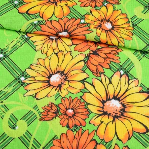 ткань полот. вафельн. набив. салатовая с желто-оранжевыми цветами, ш.40