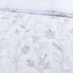 Вуаль біла з сірою вишивкою з обважнювачем 1ст. купон (СТ 1700), ш.300
