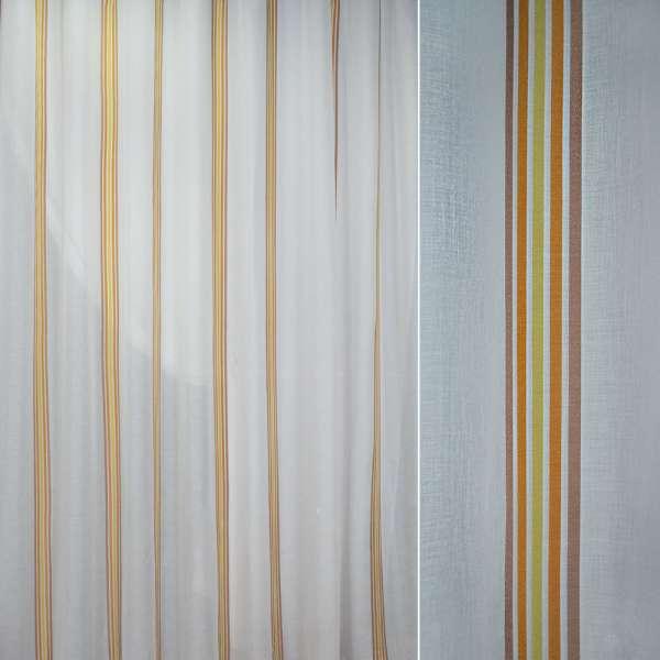 Батист белый в коричневые оранжевые салатные узкие полосы ш.300