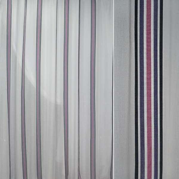 Батист білий в чорну синю бузкову вузьку смугу ш.300