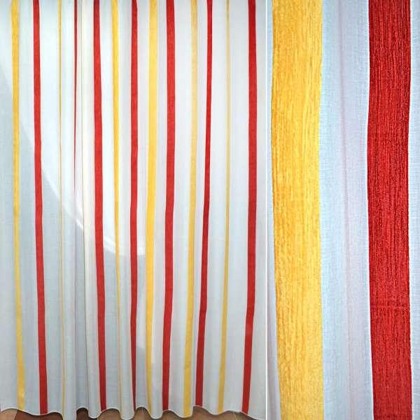 Батист білий в жовту червону шенілловой смугу ш.300