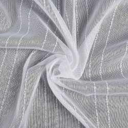 Креп-тюль белый в белую полоску с узелками с утяжелителем, ш.300
