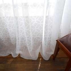 Вуаль тюль жаккард шестиугольники, белая с утяжелителем, ш.290
