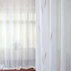 Вуаль біла в сірі, бежеві жакардові листочки з обважнювачем ш.280