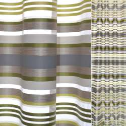 органза жак.с атлас. зелено-желт.+бежево-серыми полосками Германия ш.150