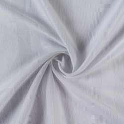 Вуаль жаккардовая белая в молочно-серебристые полоски без утяжелителя, ш.300