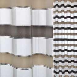 Вуаль белая с атласными коричнево-бежевыми полосками Германия ш.150
