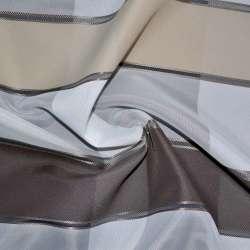 Вуаль белая с атласными коричнево-серыми, оливково-бежевыми полосками Германия ш.150