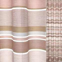 Органза серая с льняными коричневыми, оливково-белыми полосками Германия ш.150