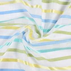 Вуаль лен деворе белая, сине-желтые, зелено-бирюзовые атласные полоски, ш.150