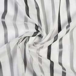 Вуаль лен деворе молочная в серые полоски без утяжелителя, ш.150