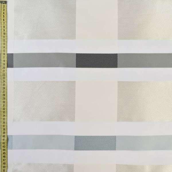 Вуаль деворе молочная с жаккардовыми молочно-серыми прямоугольниками, ш.150